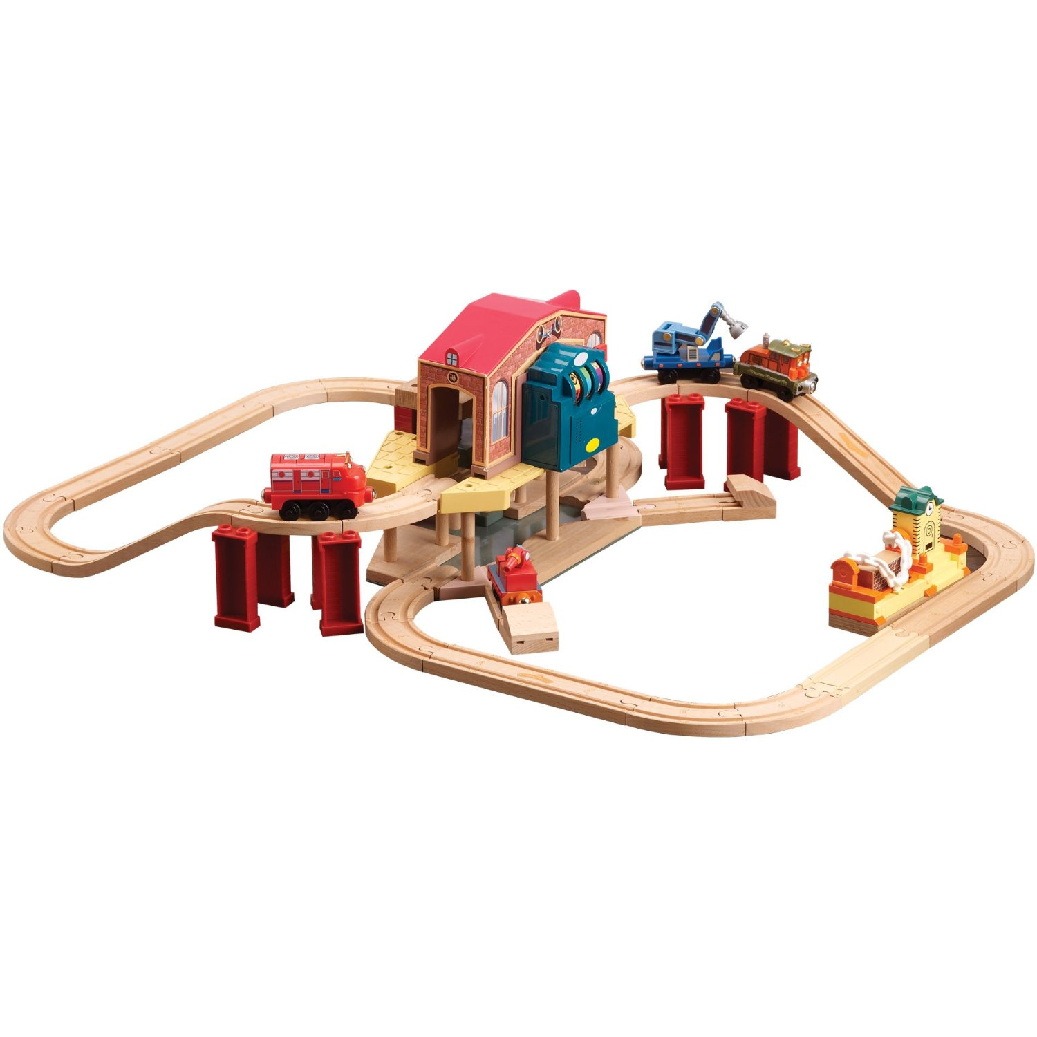 Chuggington Wooden Railway Lights and Sounds Cally\'s Rescue Set ...